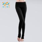 【WIWI】MIT溫灸刷毛踩腳發熱褲(經典黑 女S-2XL)