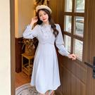 大碼長袖洋裝 連身裙 禮服簡約純色復古氣質系帶收腰顯瘦長袖連身裙2F041-C胖妹