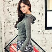 【狐狸跑跑】女子韓版春夏瑜伽服兩件套灰色長袖連帽上衣印花緊身長褲215216