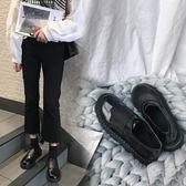 牛津鞋  冬季原宿小皮鞋女英倫學院風復古鬆緊帶中跟韓版潮學生女鞋 city精品