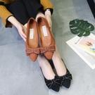 低跟鞋 春秋新款女鞋蝴蝶結平跟淺口尖頭單鞋女老北京布鞋平底鞋女