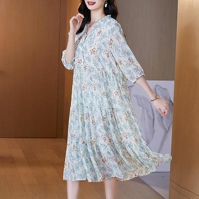 M-4XL大碼洋裝~1029# 2021夏季新品碎花設計感連身裙中長裙M5F-E076胖妞衣櫥
