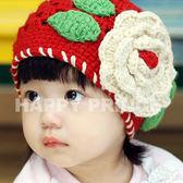 大花毛線帽    甜美女娃兒必備  橘魔法 聖誕節保暖推薦Baby magic  兒童 現貨