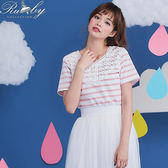上衣 條紋鉤花短袖上衣-粉紅色-Rubys 露比午茶