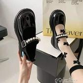 小皮鞋女夏珍珠百搭復古英倫風2021年新款瑪麗珍鞋薄款日系jk鞋子 快速出貨