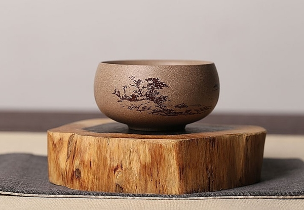 [協貿國際]紫砂原礦段泥手繪單杯主人杯聞香茶杯