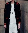 FINDSENSE品牌 男 時尚 街頭 潮 紅色織帶拼接 中長款 長袖襯衫 特色