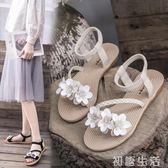 涼鞋仙女風涼鞋女學生夏季新款女鞋韓版百搭沙灘鞋平底厚底羅馬鞋 初語生活