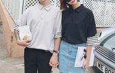 找到自己 MD 韓國 潮 男 時尚 寬鬆 翻領 素面假兩件 條紋 情侶裝 短袖T恤 短袖POLO衫