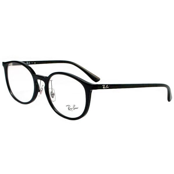 【RayBan 雷朋】RB7150D-2000 復古圓框雷朋光學眼鏡(#黑框)