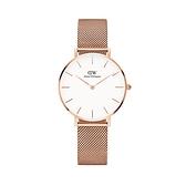 【Daniel Wellington】PETITE瑞典時尚品牌經典簡約米蘭腕錶-玫瑰金x白-32mm/DW00100163/原廠兩年保固