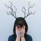 髮飾 復古仿真樹枝森女頭箍寫真影樓拍攝道具鹿角頭飾髮夾髮箍-凡屋