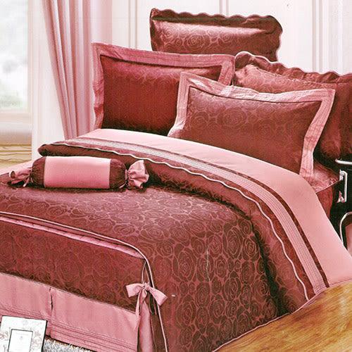 義大利La Belle《夢醒時分》雙人緹花八件式鋪棉兩用被床罩組