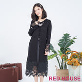 RED HOUSE-蕾赫斯-長版蕾絲針織外套(黑色)