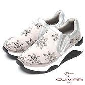 ★2018春夏新品★【CUMAR】樂活休閒-星型水鑽裝飾休閒厚底鞋(淺灰色)