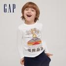 Gap男童 全棉創意印花圓領長袖T恤 664152-白色