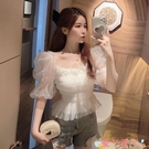 雪紡衫 雪紡衫女裝短袖2021年早春新款方領網紗仙女泡泡袖白色超仙氣上衣 愛丫 新品