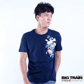 BIG TRAIN 堂獅扇子短袖圓領T-男-深藍
