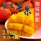 【南紡購物中心】屏東枋山外銷級愛文芒果2.5公斤(大5-6顆/盒)