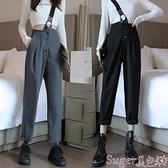 背帶褲 秋冬新款韓版高腰寬鬆休閒設計感單肩背帶褲小腳褲哈倫褲女  新品
