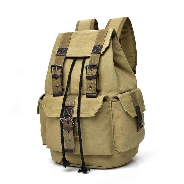 帆布後背背包男女復古休閑ins旅行李大容量初高中大學生書包抽帶 至簡元素