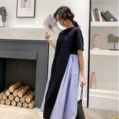 漂亮小媽咪 拼接條紋洋裝 【D1139】寬鬆 不規則 傘擺 短袖 連身裙 孕婦裝 加大 洋裝