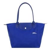 【南紡購物中心】LONGCHAMP Le Pliage Collection刺繡長把摺疊水餃包(小/藍)