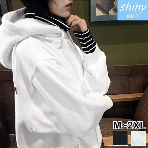 【V2049】shiny藍格子-保暖舒適.假兩件條紋拼接連帽長袖上衣