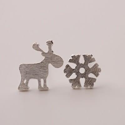 925純銀耳環(耳針式)-可愛小鹿雪花生日聖誕節禮物女飾品73dr20[時尚巴黎]
