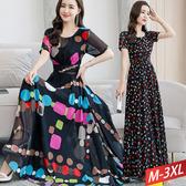 波點印花雪紡洋裝(2色) M~3XL【303903W】【現+預】-流行前線-