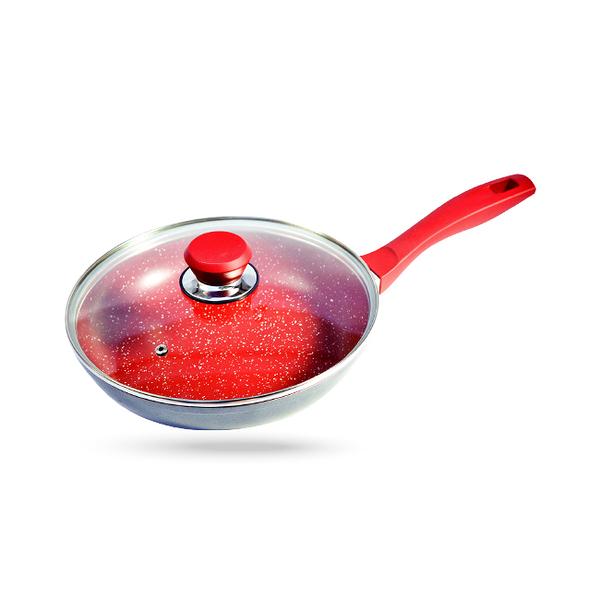 美國 FlavorStone 紅寶石超耐磨不沾鍋( 24cm平底快炒鍋含鍋蓋)