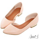 Ann'S成熟高雅-金跟側空尖頭平底包鞋-粉