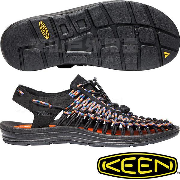 KEEN 1020779黑/彩色(送鞋扣) Uneek男專業戶外護趾編織涼鞋 繩編鞋/水陸兩用鞋/運動健走鞋/沙灘戲水鞋