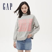 Gap女裝 Logo創意印花圓領休閒上衣 624749-淺灰色