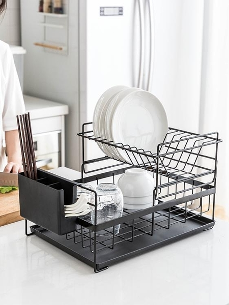 創意瀝水架雙層晾放碗筷碗碟碗盤置物架廚房收納盒儲物架 小宅君