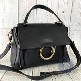 BRAND楓月 CHLOE 經典 FAYE 黑色 圓環鍊 皮革 肩背包 側背包 手提包
