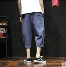 七分褲男士日系復古寬鬆棉麻休閒短褲七分褲夏季加肥加大碼哈倫7分褲男新年交換禮物