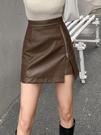 咖色皮裙2020新款時尚棕色半身裙春秋季女胖mm大碼 高腰短裙a字裙【快速出貨】