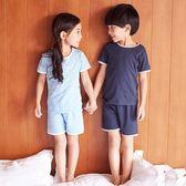 兒童睡衣 兒童夏季男童空調服女童短袖夏裝睡衣薄款純棉男孩寶寶家居服套裝【快速出貨】