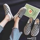 名將黑白棋盤格帆布鞋女韓版百搭板鞋一腳蹬夏季休閒套腳懶人鞋 pinkQ 時尚女裝