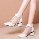 新品中跟涼鞋網靴鏤空春季涼靴女鞋子粗跟網紗涼鞋女春夏中跟百搭單鞋 芊墨左岸