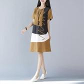 2020夏季新款韓版民族風女裝大碼寬鬆短袖拼接中長款棉麻洋裝 美芭