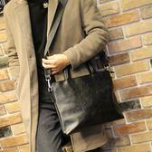 新款潮流公文包男士包商務手提包橫款單肩包斜背休閒背包 至簡元素