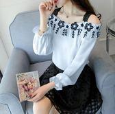 春季上新 雪紡衫女 新款韓版時尚一字露肩超仙洋氣小衫長袖小仙女上衣服 卡米優品