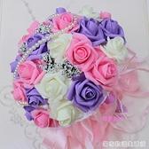 新娘大號手捧花韓式婚禮結婚用品仿真假花手拋花球送胸花手腕花