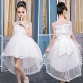 女童公主裙夏季白色蓬蓬紗裙兒童夏裝洋裝子花童禮服洋氣演出服 幸福第一站