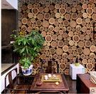 現代中式壁紙個性圓木木樁木紋木頭懷舊復古酒吧茶樓餐廳背景牆紙