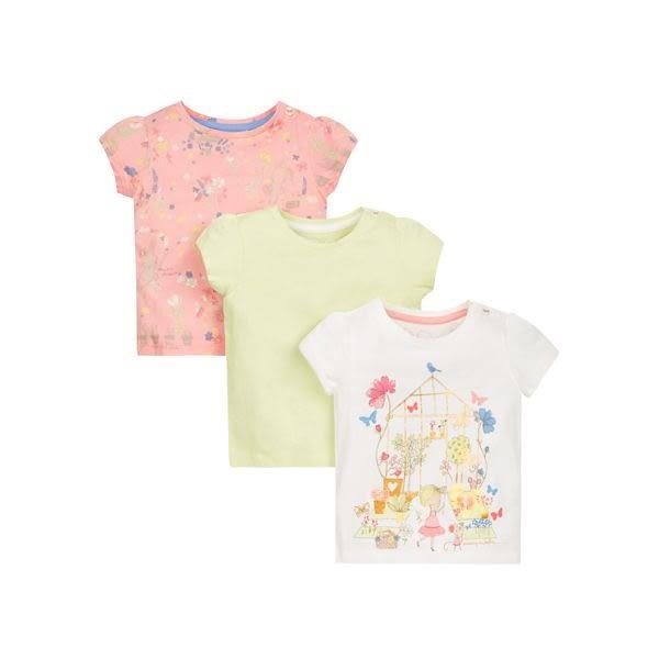mothercare 3入彩繪女孩短袖T-海灘派對(M0LH641)24M、36M、5A
