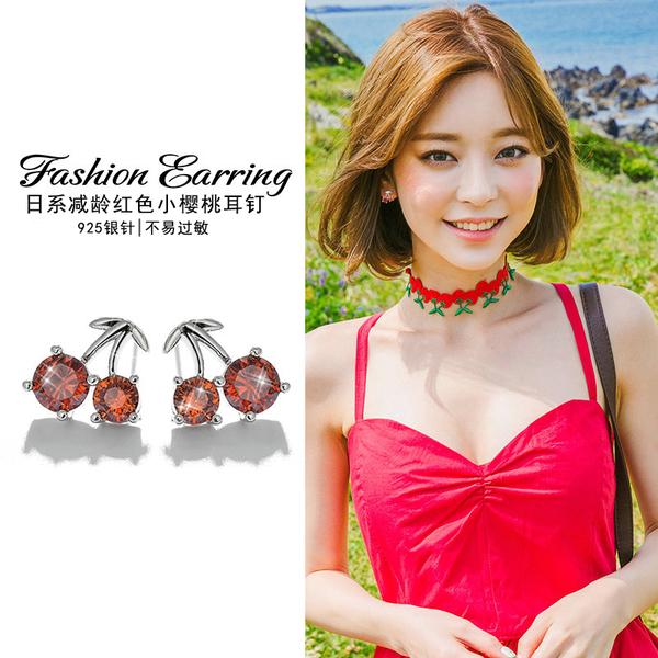 甜美紅色小櫻桃耳環女韓國時尚簡約鑲鉆人造水晶耳墜