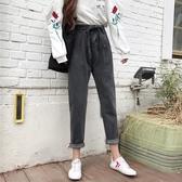 牛仔褲秋冬女裝高腰牛仔褲哈倫褲九分褲直筒褲